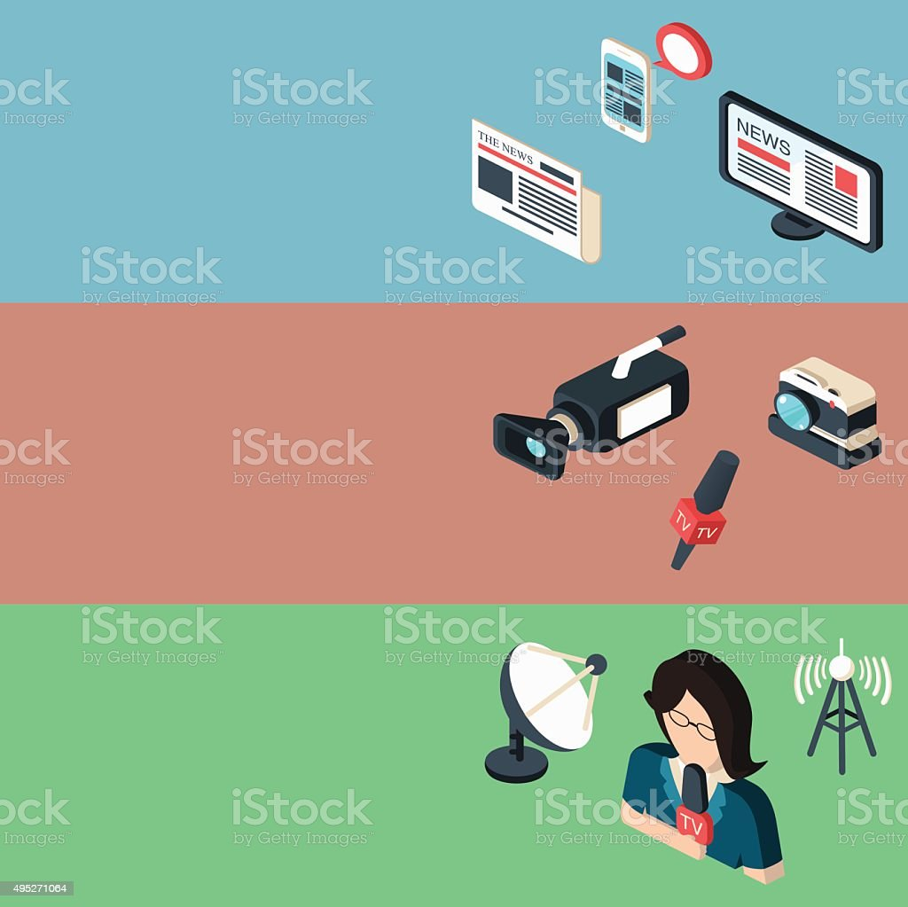 Mass media journalism broadcasting news cast banners vector art illustration