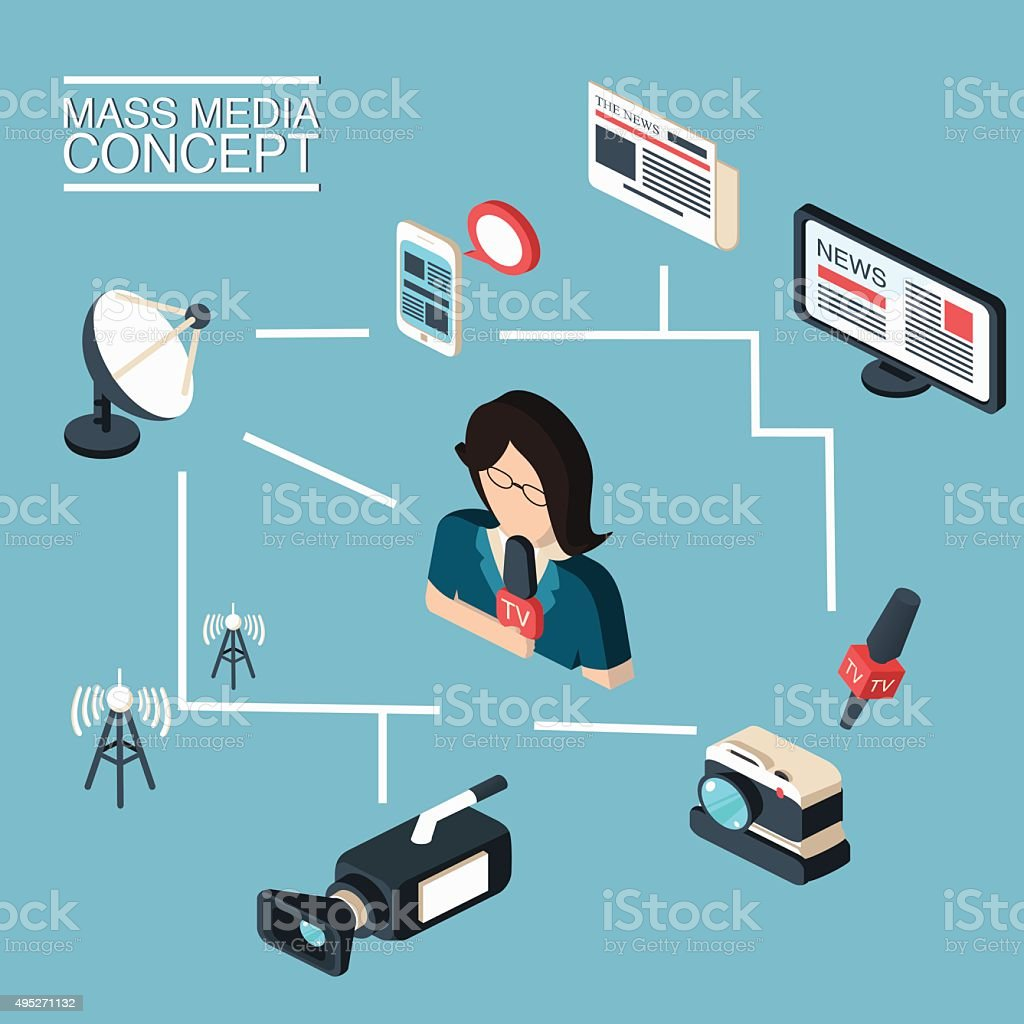 Mass media journalism broadcasting news cast concept vector art illustration
