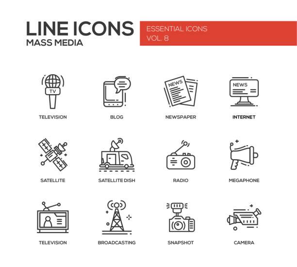 bildbanksillustrationer, clip art samt tecknat material och ikoner med mass media line design icons set - paper mass