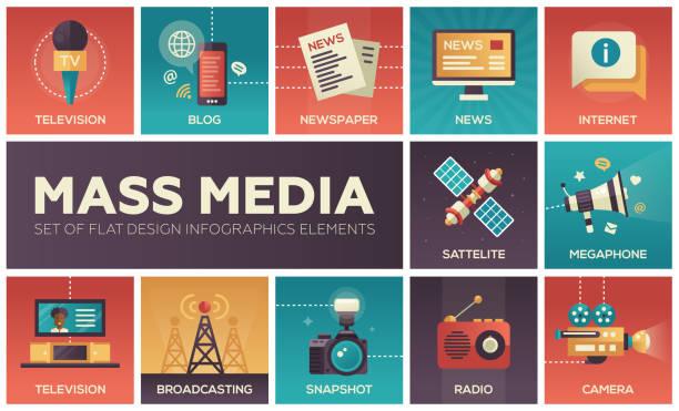 stockillustraties, clipart, cartoons en iconen met mass media line design icons set - journalist