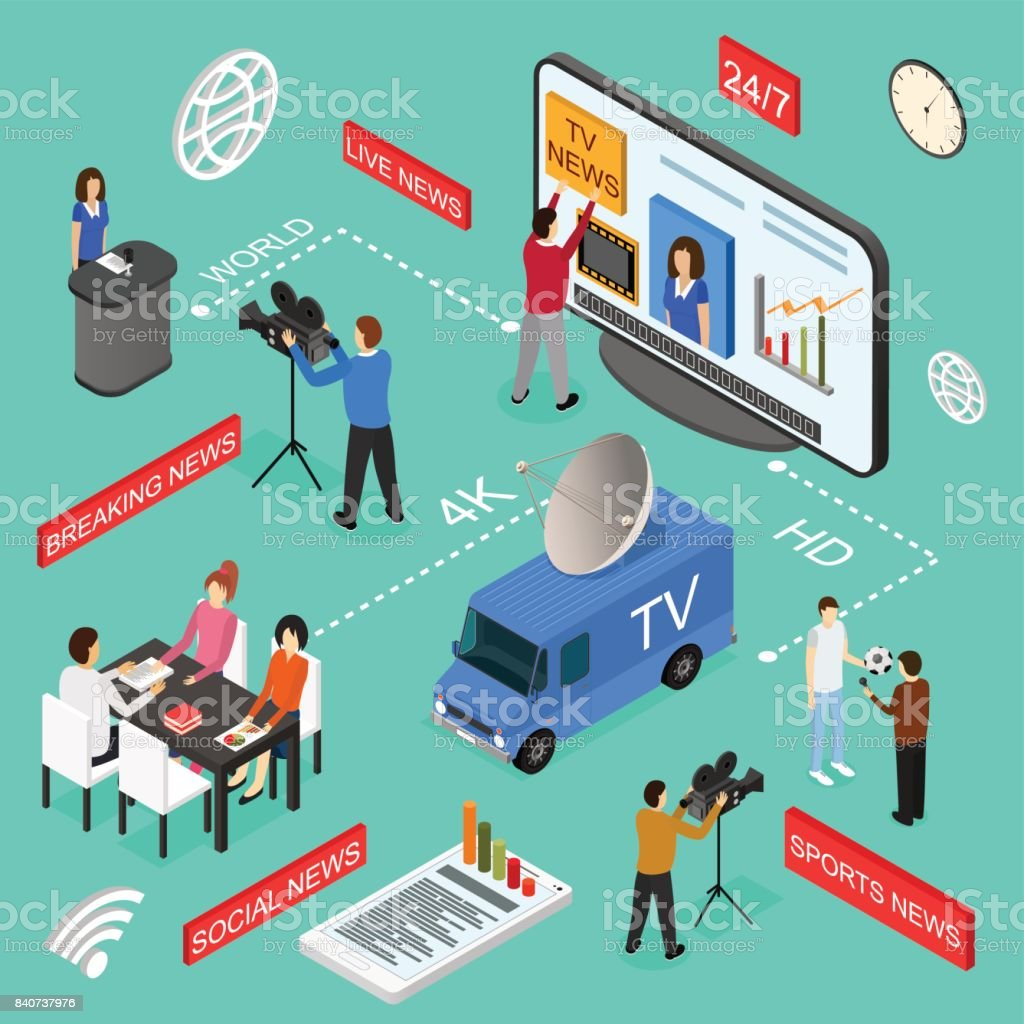 Mass Media News Concept Isometric View. Vector vector art illustration