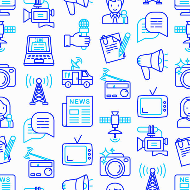 Mass media seamless pattern with thin line icons: journalist, newspaper, article, blog, report, radio, internet, interview, video, photo. Modern vector illustration. vector art illustration