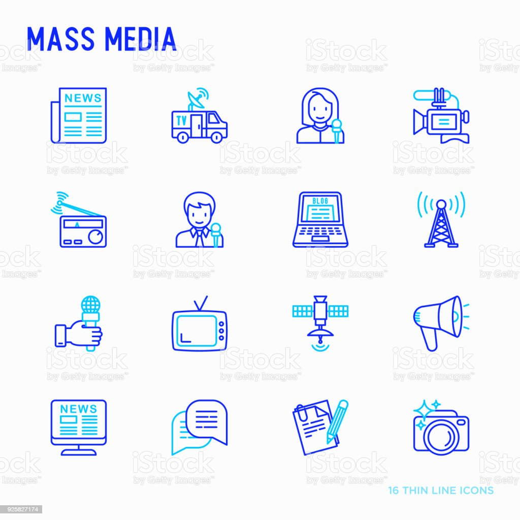 Mass media thin line icons set: journalist, newspaper, article, blog, report, radio, internet, interview, video, photo. Modern vector illustration. vector art illustration