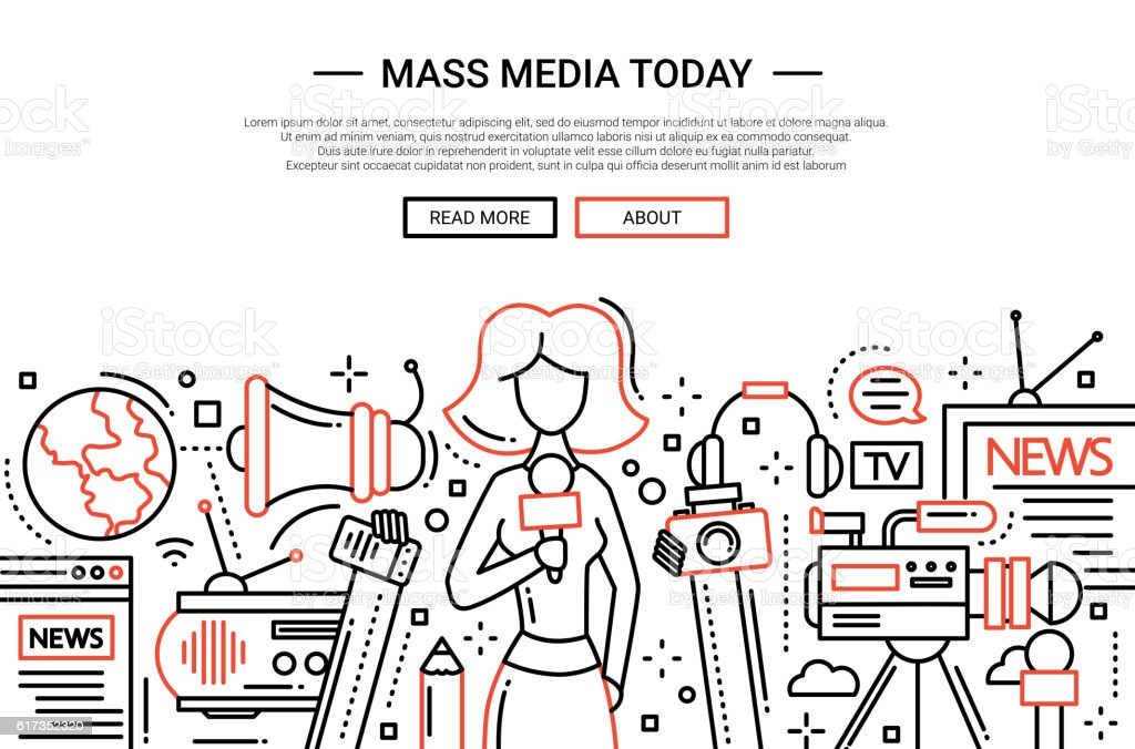 Mass Media Today - line design website header vector art illustration