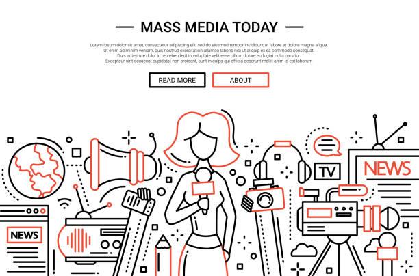 stockillustraties, clipart, cartoons en iconen met mass media today - line design website header - journalist