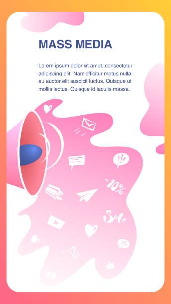 bildbanksillustrationer, clip art samt tecknat material och ikoner med mass media webbplats vektor färg platta mall - paper mass