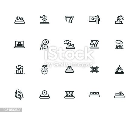 Mass Production Icon Set - Thick Line Series