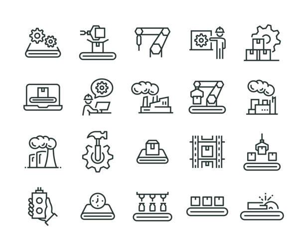 zestaw ikon produkcji masowej - produkować stock illustrations
