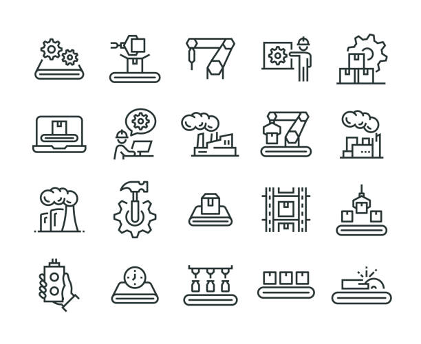 Mass Production Icon Set Mass Production Icon Set factory stock illustrations
