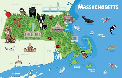 Massachusetts Cartoon Map