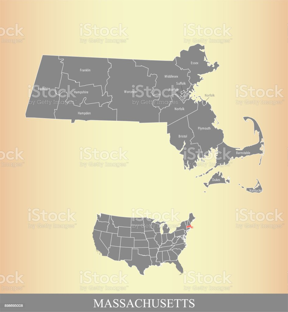 Massachusetts county and USA map vector outline illustration in a creative grunge texture background vector art illustration