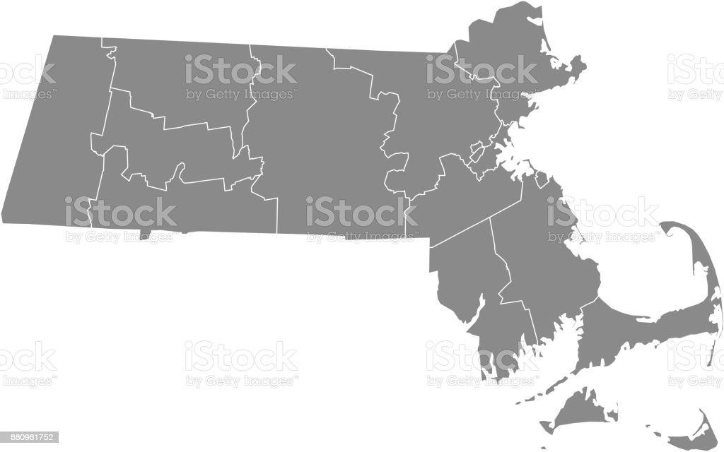 Massachusetts county map vector outline illustration in gray background vector art illustration