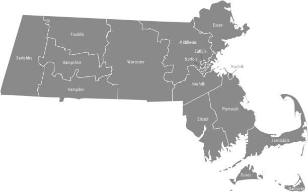 stockillustraties, clipart, cartoons en iconen met massachusetts county kaart overzicht vectorillustratie in grijze achtergrond - massachusetts