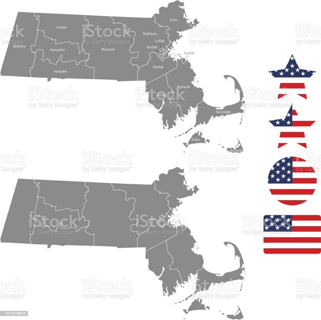 Machusetts County Map Vector Outline In Gray Background ... on