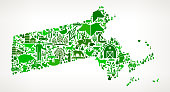 Massachusetts Farming and Agriculture Green Icon Pattern