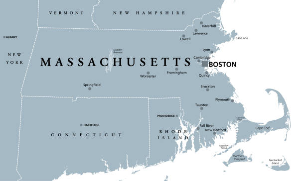 Massachusetts, gray political map, Commonwealth of Massachusetts, MA vector art illustration