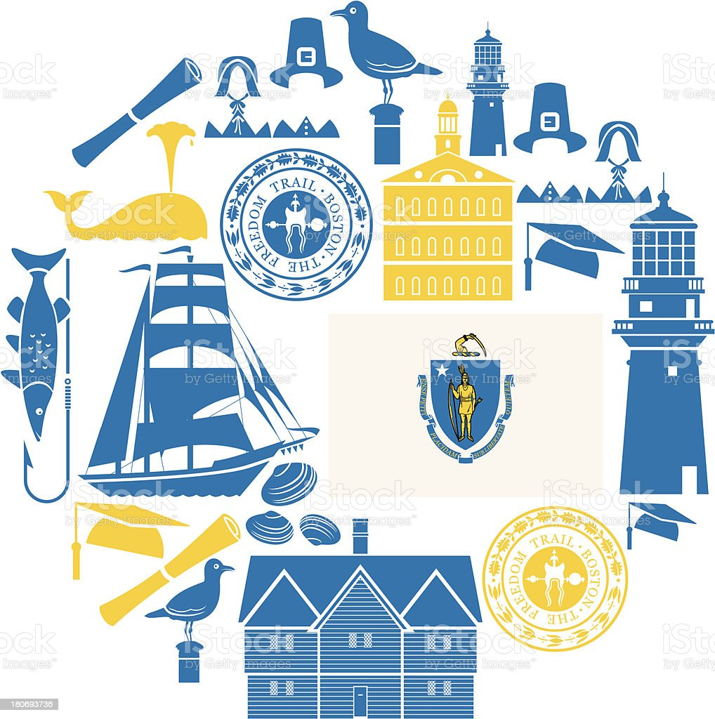 Massachusetts Icon Set vector art illustration