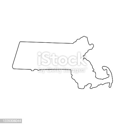 istock Massachusetts line USA state, American map illustration, America vector isolated on white background, outline style 1225306044