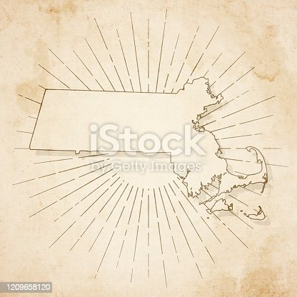 Map of Massachusetts in a trendy vintage style. Beautiful retro illustration of an antique map with light rays in the background and on old textured paper. Included: Realistic texture of an old parchment (colors used: sepia, beige, brown). Vector illustration (EPS10, well superimposed and grouped). Easy to edit, manipulate, resize or colorize.