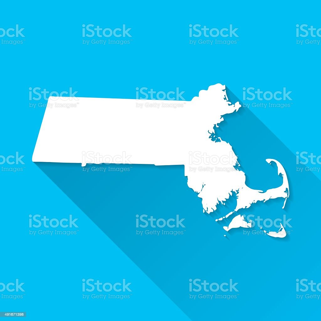 Massachusetts Map on Blue Background, Long Shadow, Flat Design vector art illustration