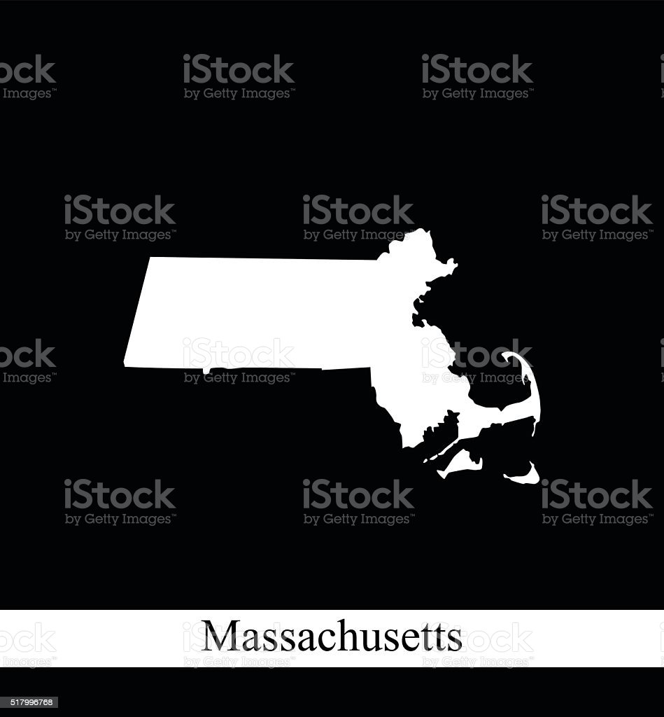 Massachusetts map outline vector printable in black and white background vector art illustration