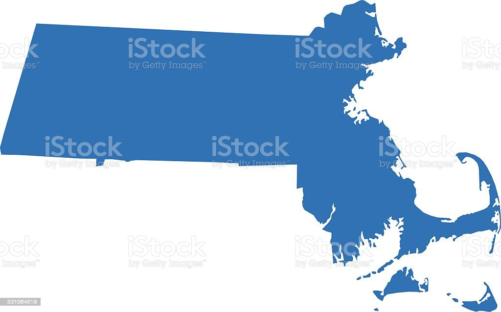 Massachusetts Map vector art illustration