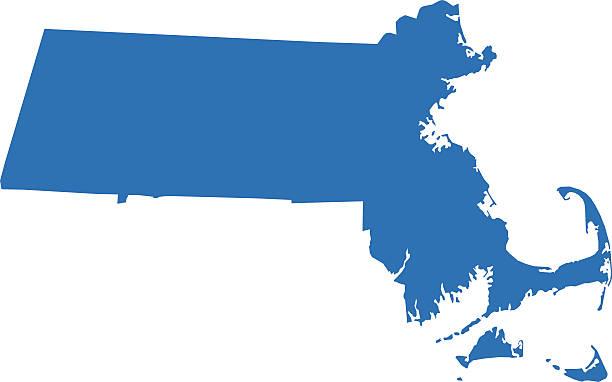 Massachusetts mapy – artystyczna grafika wektorowa