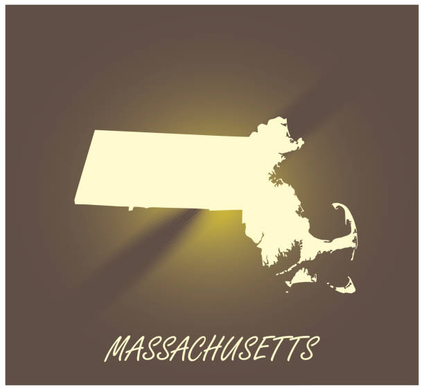 stockillustraties, clipart, cartoons en iconen met massachusetts kaart vector overzicht cartografie zwart-wit verlichte grunge achtergrond illustratie - somerville massachusetts