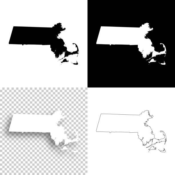 stockillustraties, clipart, cartoons en iconen met massachusetts kaarten voor design - blank, witte en zwarte achtergronden - massachusetts