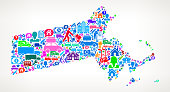 Massachusetts Moving and Relocation Vector Icon Pattern