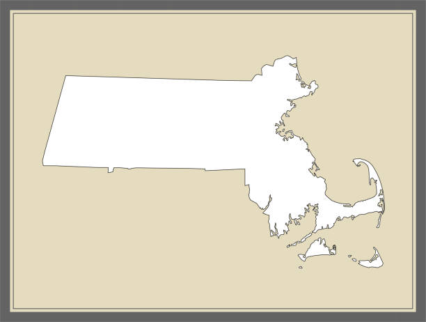 stockillustraties, clipart, cartoons en iconen met massachusetts overzicht vectorkaart cartografie - somerville massachusetts