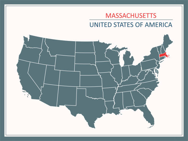 stockillustraties, clipart, cartoons en iconen met massachusetts overzicht vectorkaart usa afdrukbare - somerville massachusetts