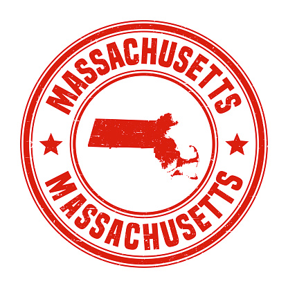 Map of Massachusetts on a red rubber stamp in vintage style. The stamp is composed of the map in the middle with the names around, separated by stars. A grunge texture is added to create a vintage and realistic effect. Vector Illustration (EPS10, well layered and grouped). Easy to edit, manipulate, resize or colorize.