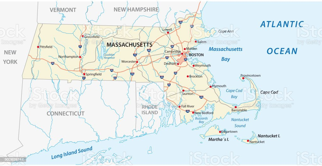Massachusetts Road Vector Map Stock Vector Art More Images of