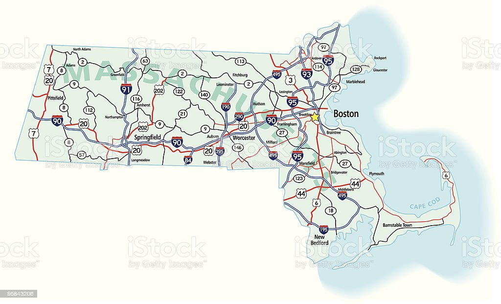 Massachusetts State Interstate Map vector art illustration