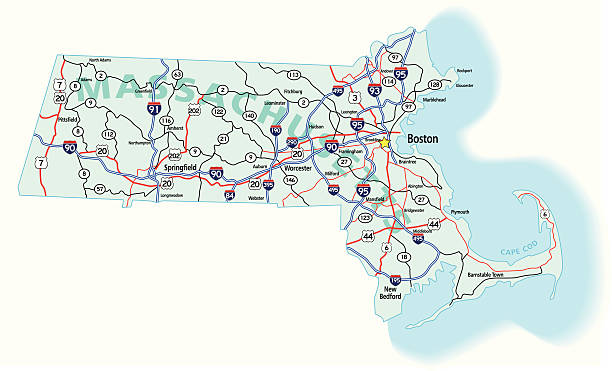 Massachusetts State Interstate Map vector art illustration
