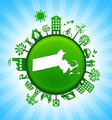 Massachusetts State Map Green Environmental Conservation Vector Background