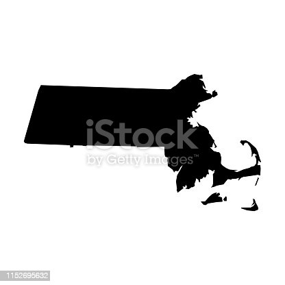 istock Massachusetts, state of USA - solid black silhouette map of country area. Simple flat vector illustration 1152695632