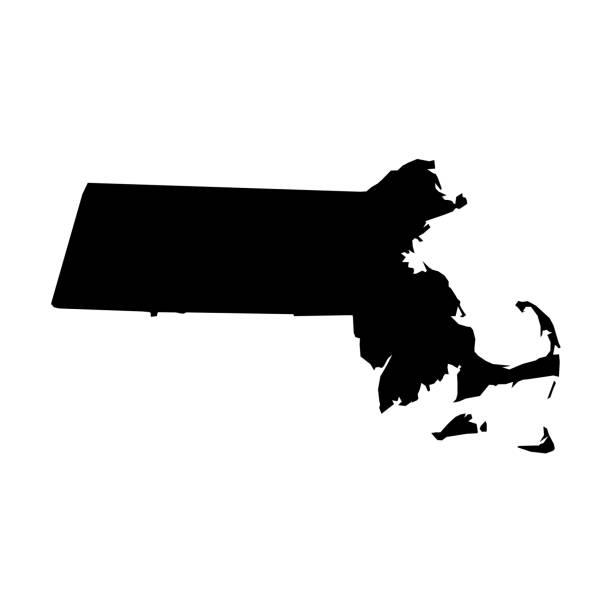 stockillustraties, clipart, cartoons en iconen met massachusetts, staat van de v.s.-de stevige zwarte kaart van het silhouet van landgebied. eenvoudige platte vector illustratie - massachusetts