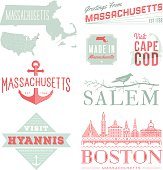 A set of vintage-style icons and typography representing the state of Massachusetts, including Boston, Salem, Hyannis and Cape Cod. Each items is on a separate layer. Includes a layered Photoshop document. Ideal for both print and web elements.
