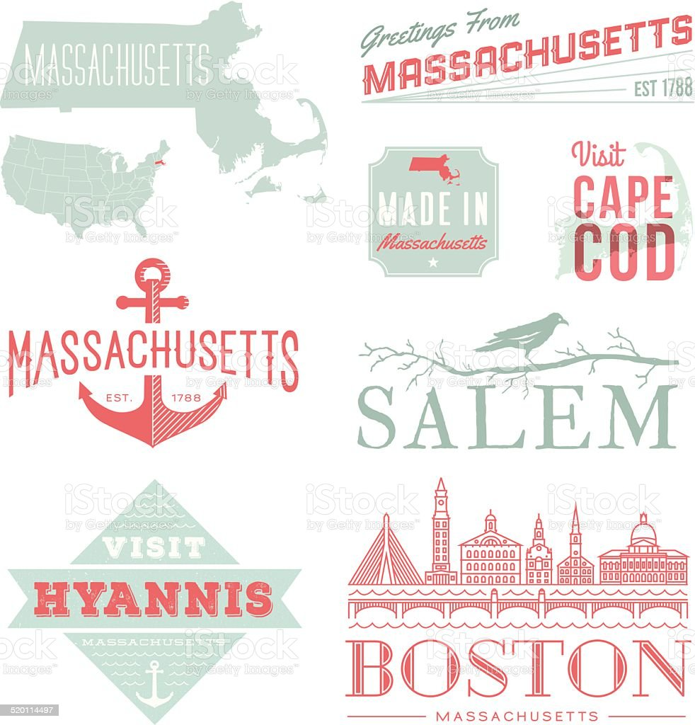 Massachusetts Typography vector art illustration