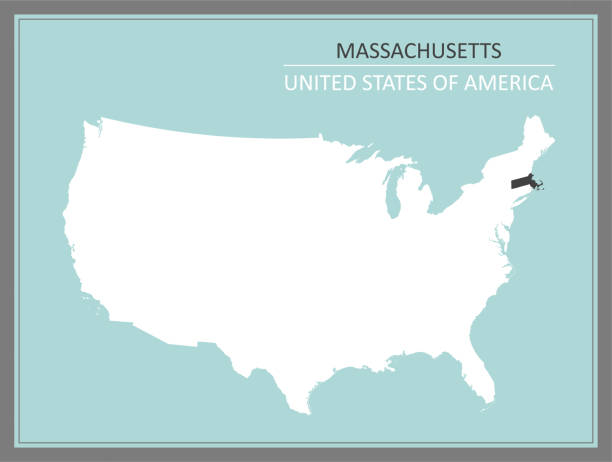 stockillustraties, clipart, cartoons en iconen met massachusetts usa kaart te downloaden - somerville massachusetts