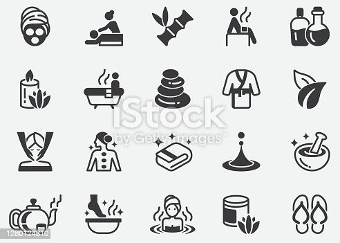 istock Massage and Spa Pixel Perfect Icons 1280124810