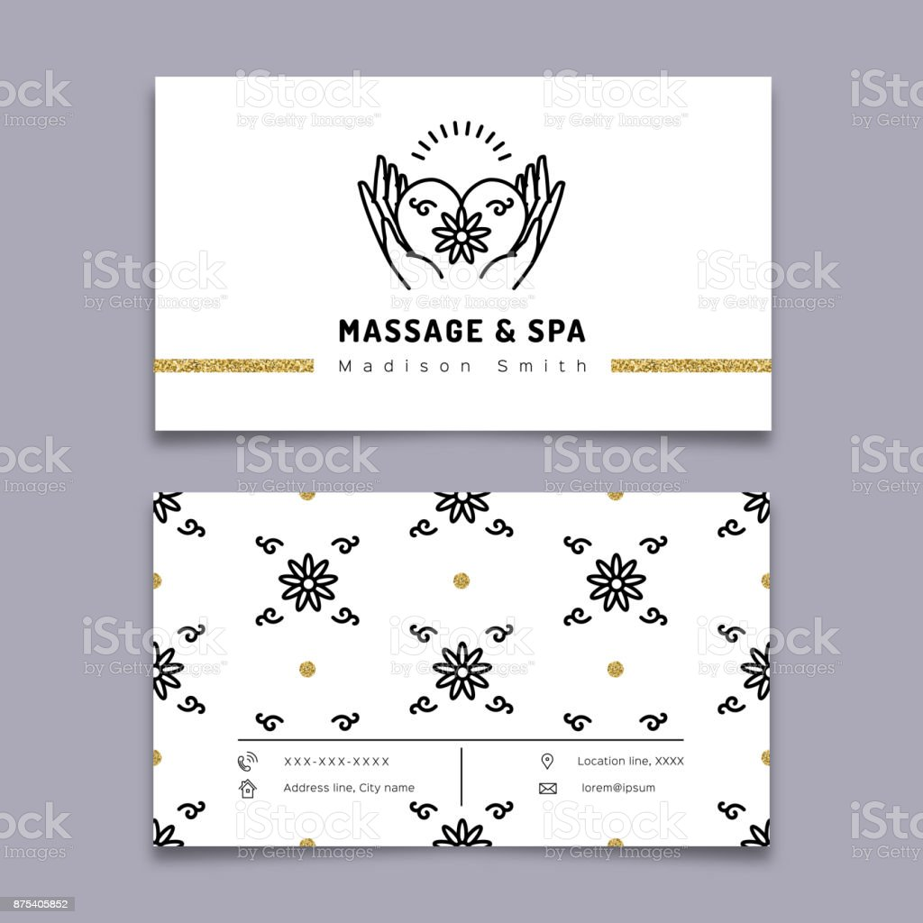 Massage and spa therapy business card template trendy line icon massage and spa therapy business card template trendy line icon royalty free massage and accmission Images