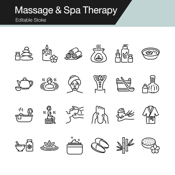 massage and spa therapy icons. modern line design. for presentation, graphic design, mobile application, web design, infographics, ui. editable stroke. - massage stock illustrations