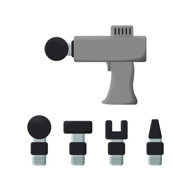 ilustraciones, imágenes clip art, dibujos animados e iconos de stock de ilustración vectorial de pistola de masaje. vector. - medicina del deporte