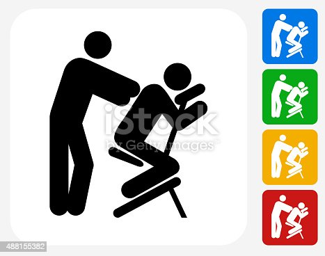 Massage Icon. This 100% royalty free vector illustration features the main icon pictured in black inside a white square. The alternative color options in blue, green, yellow and red are on the right of the icon and are arranged in a vertical column.