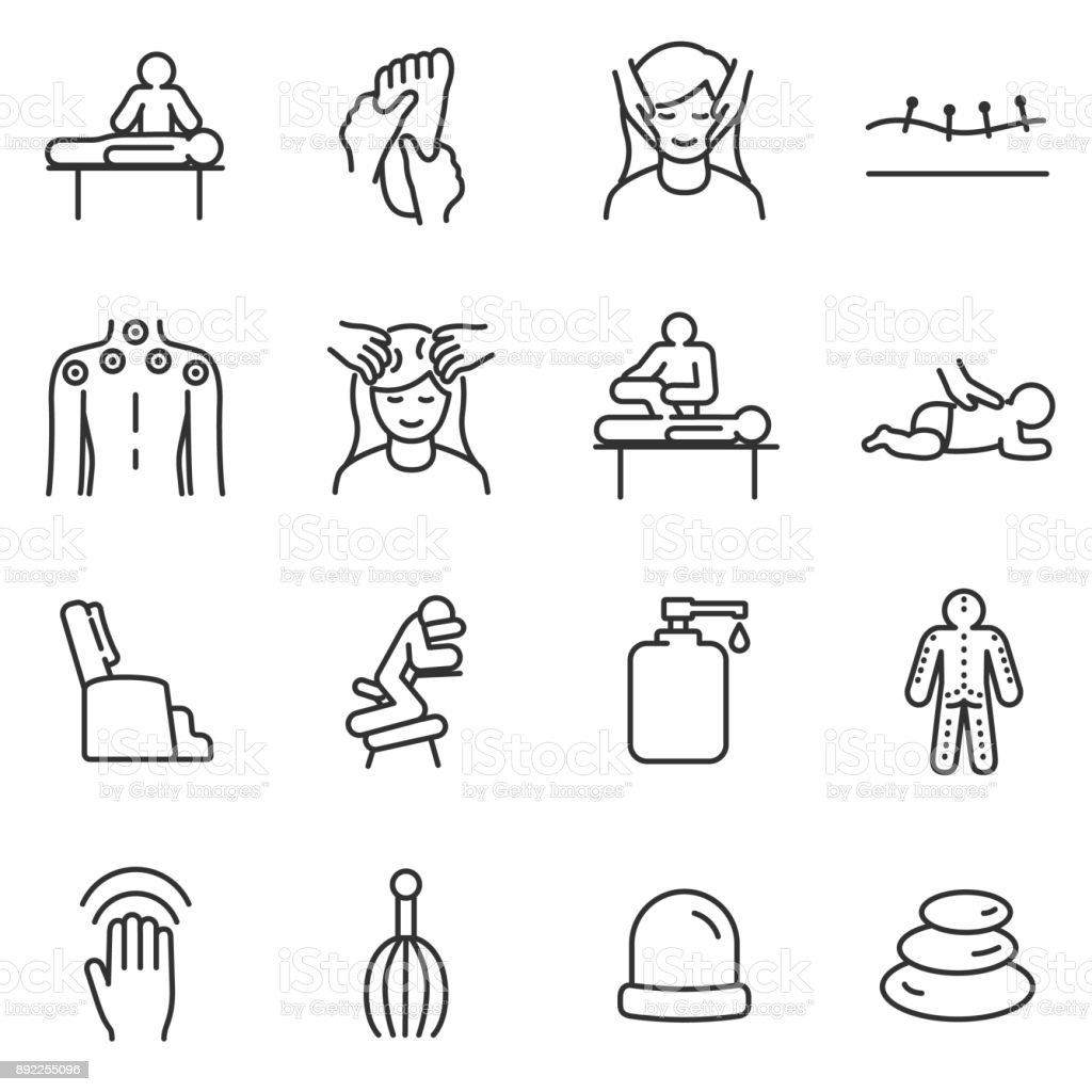 massage linear icons set relaxing spaline with editable stroke stock vector art  u0026 more images of