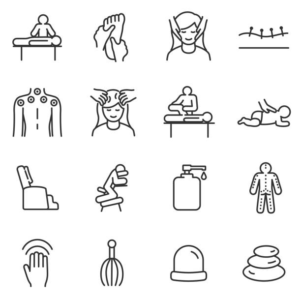 massage linear icons set. relaxing spa.line with editable stroke - massage stock illustrations