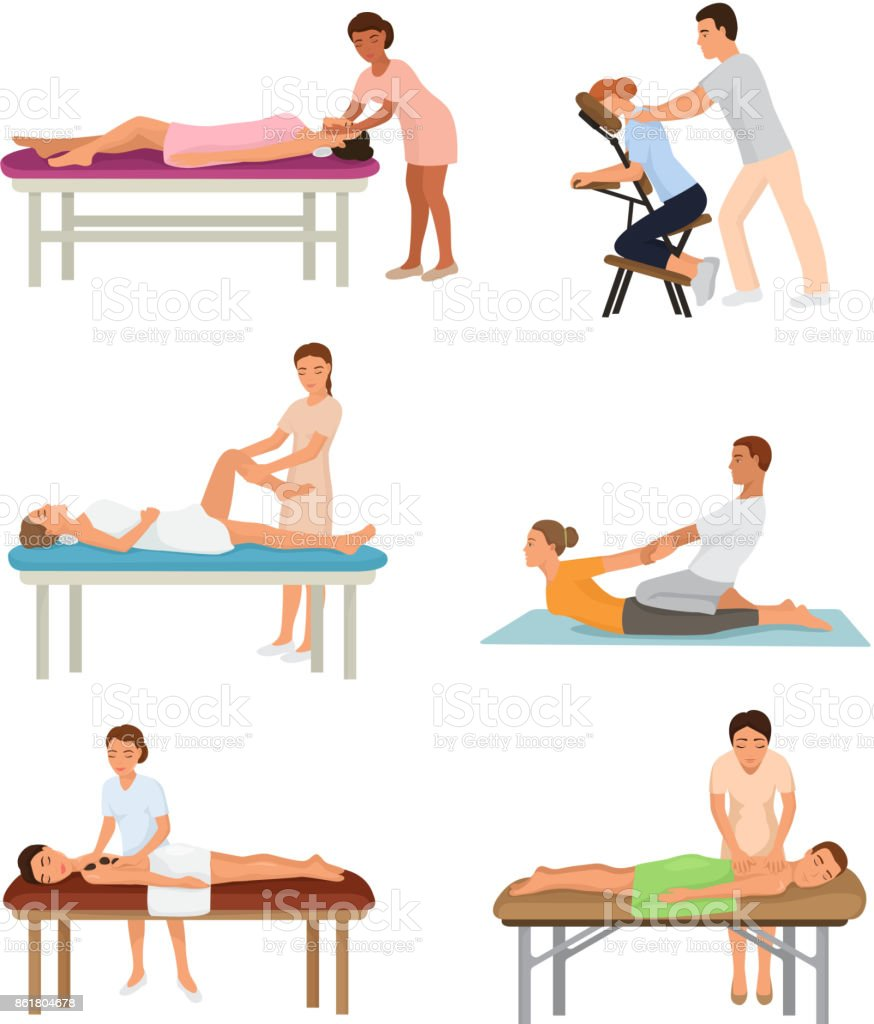 Massage procedure people beauty spa healthy lifestyle characters relaxation concept beautiful professional relax person vector illustration vector art illustration